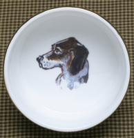 Ramekin - Gold Band - Hound Head/Side View