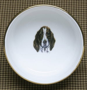 Ramekin - Gold Band - Hound Head/Front View