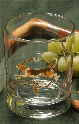 Double Old Fashion Glasses - Foxhound & Whips - Set of 4