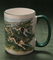 Mug - Full Wrap with Green Handle - 15oz
