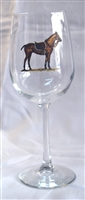 Wine Glasses - Polo Horse - Blue Saddle Pad - Set of 4