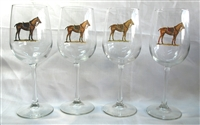 Wine Glasses - Polo Horse - 4 Color Saddle Pads - Set of 4