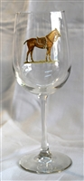 Wine Glasses - Polo Horse - Orange Saddle Pad - Set of 4