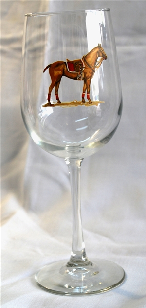 Wine Glasses - Polo Horse - Red Saddle Pad - Set of 4