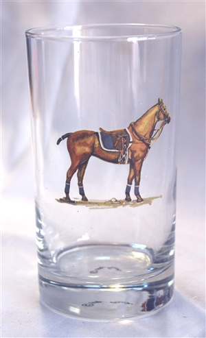 Beverage Glasses - Polo Horse - Blue Saddle Pad - Set of 4