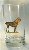 Beverage Glasses - Polo Horse - Green Saddle Pad - Set of 4