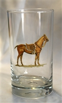 Beverage Glasses - Polo Horse - Orange Saddle Pad - Set of 4