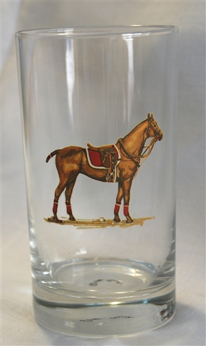Beverage Glasses - Polo Horse - Red Saddle Pad - Set of 4
