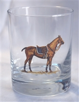 Double Old Fashion Glasses - Polo Horse - Blue Saddle Pad - Set of 4