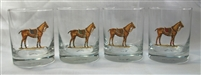 Double Old Fashion Glasses - Polo Horse - Blue, Green, Orange, Red Saddle Pad - Set of 4