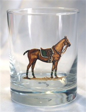 Double Old Fashion Glasses - Polo Horse - Green Saddle Pad - Set of 4