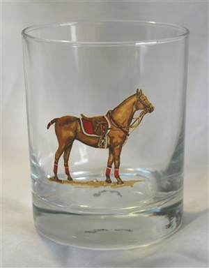 Double Old Fashion Glasses - Polo Horse - Red Saddle Pad - Set of 4