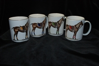 Mug - Polo Horse - Black Band - 4 Color Saddle Pads - Set of 4