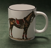 Mug - Polo Horse - Black Band - Red Saddle Pad