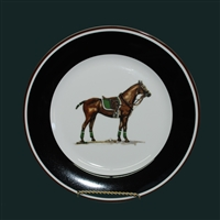 Dessert/Breakfast Plate - Polo Horse - Green Saddle Pad