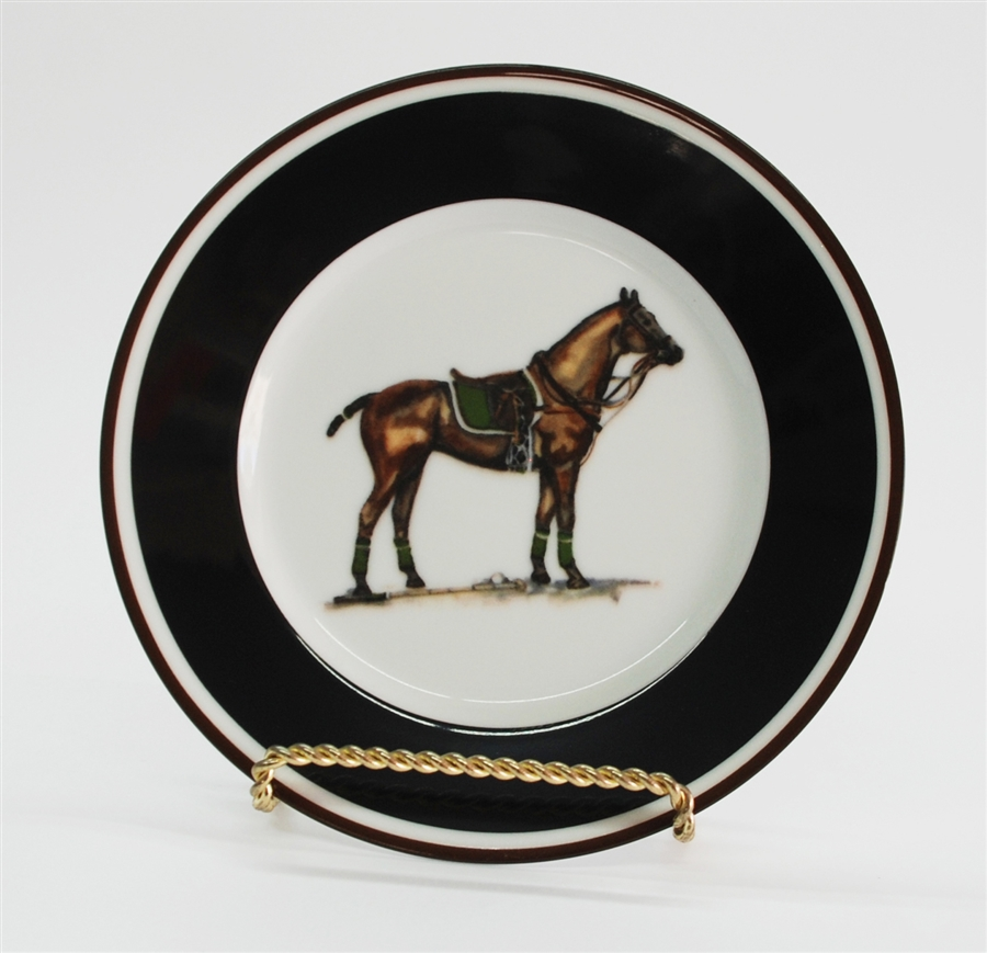 sc 1 st  Artfully Equestrian & Dinner Plate - Polo Horse - Green Saddle Pad