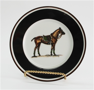 Dinner Plate - Polo Horse - Green Saddle Pad