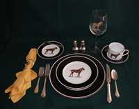 5-pc Place Setting - Polo Horse - Green Saddle Pad - Glass, Silverware, Salt/Pepper Shakers, Napkin/Holder Not Included