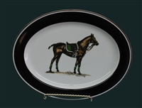 Oval Serving Platter - Polo Horse - Green Saddle Pad