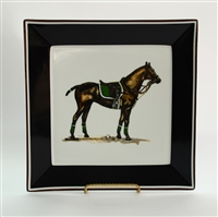 "Square Plate - Polo Horse - 10-1/2"" - Green Pad"