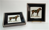 "Square Plate - Polo Horse - 6-7/8"" - Black/Brown Rim - Green - Set/4"