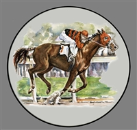 Coupe Plate - Black Band - Race Horse