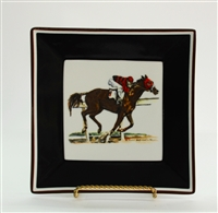 "Square Plate - Race Horse - 6-7/8"" - Black/Brown Rim"