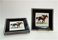 "Square Plate - Race Horse - 6-7/8"" - Black/Brown Rim - Set/4"
