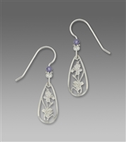 Sienna Sky Earrings-Silver Tone Hibisicus in Frame