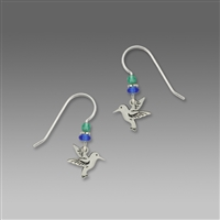 Sienna Sky Earrings-Small Silver Tone Hummingbird