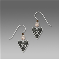 Sienna Sky Earrings-Black Heart with Silver tone Border & Spiral