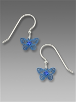 Sienna Sky Earrings-Little Blue Butterfly with Blue Crystal
