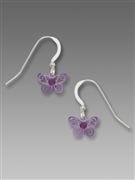 Sienna Sky Earrings-Little Lavender Butterfly with Purple Crystal
