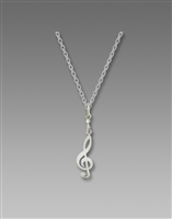 Sienna Sky Necklace- Silver Tone Treble Clef