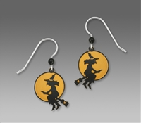 Sienna Sky Earrings-Witch Riding a Broom with Moon In Background