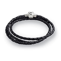 CHAMILIA Bracelet-Ebony Braided Leather Wrap 22.2 Inches