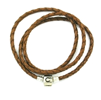 CHAMILIA Bracelet-Cognac Braided Leather Wrap 22.2 Inches