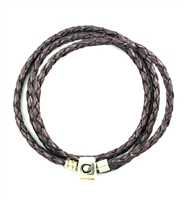 CHAMILIA Bracelet-Plum Braided Leather Wrap 22.2 Inches