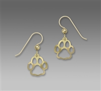 Sienna Sky Earrings- Gold Tone Paw Print Outline