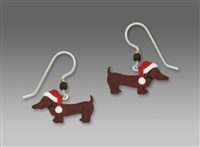 Sienna Sky Earrings - Christmas Dachshund with Santa Hat