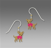 Sienna Sky Earrings-Chihuahua in Pink Sweater