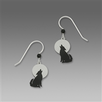 Sienna Sky Earrings-Black Wolf Howling at Moon