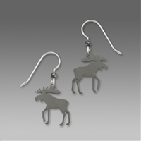 Sienna Sky Earrings-Dark Gray Moose Silhouette