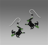 Sienna Sky Earrings-  Witch & Black Cat on a Broomstick