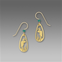 Sienna Sky Earrings- Gold-Toned Heron Teardrop