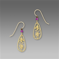 Sienna Sky Earrings-Iris Flower Earrings Gold-tone