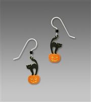 Sienna Sky Earrings- Black Cat on Jack O' Lantern