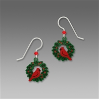 Sienna Sky Earrings-Red Cardinal Sitting on a Christmas Wreath