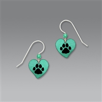 Sienna Sky Earrings-Turquoise Heart with Paw Print