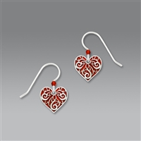 Sienna Sky Earrings-Red Heart with Filigree